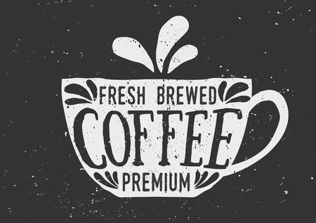 Hand drawn cup of coffee with text and decorative elements. Chalkboard style vector illustration. Vector