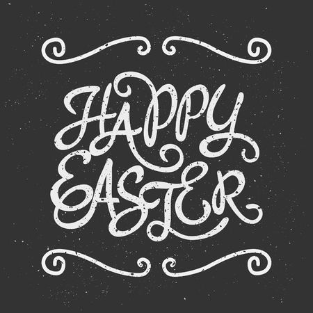 Typographic Easter greeting card template in chalkboard style. Vector