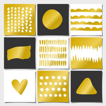 A set of nine abstract geometric designs in gold, white and black. Wedding, engagement and bridal shower invitations, birthday, anniversary and holiday card templates. Organic patterns and textures, brush strokes, faux golden foil, copy space. Vector