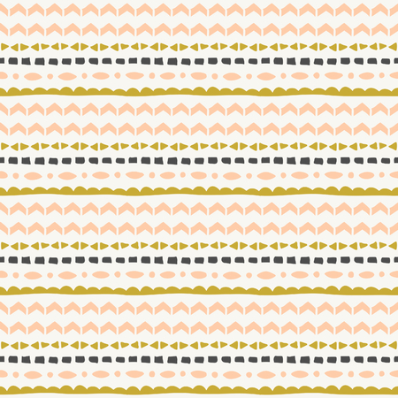 Seamless repeat tribal pattern in pink, green and gray.