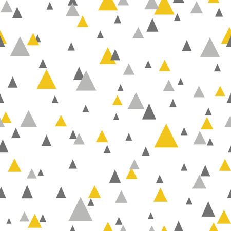 Abstract seamless pattern with triangles in yellow and gray. Vector