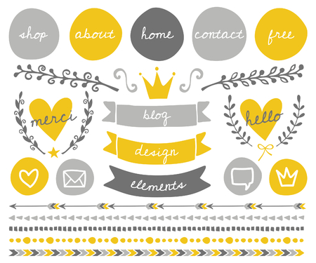 blog: A set of trendy blog design elements in gold yellow, light gray and dark gray. Round buttons, laurel wreaths, cute icons, arrows, frames, decorative borders and text dividers.