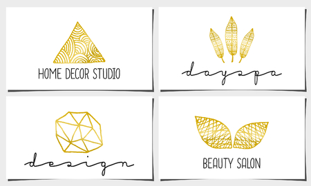 golden: A set of four modern and elegant business card templates in white, gold and black. Hand drawn golden design elements, feathers, leaves, triangle, geometric shapes.