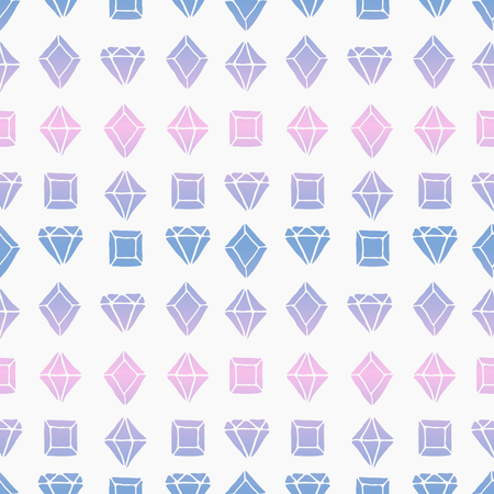 Seamless tiling pattern with diamond shapes in pink and blue ombre colors. Vector