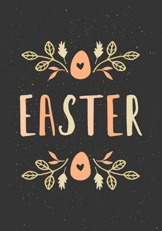 Hand drawn style Easter greeting card template with easter egg and floral decoration. Vector