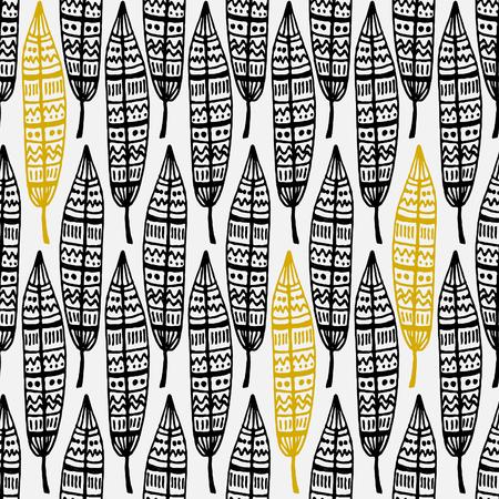 pluma: Dibujado a mano patr�n de repetici�n sin fisuras con las plumas ornamentales en negro y dorado sobre fondo blanco. Vectores