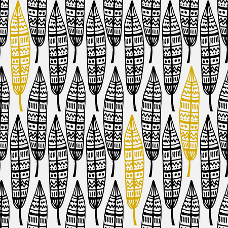 Hand drawn seamless repeat pattern with ornate feathers in black and golden on white background.