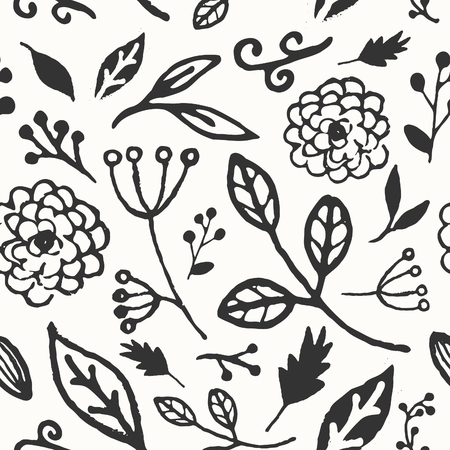 Hand drawn seamless repeat pattern with floral design elements in black and white. Vector
