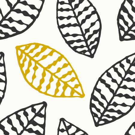Hand drawn seamless repeat pattern with ornate leaves in black, golden and off-white. Vector