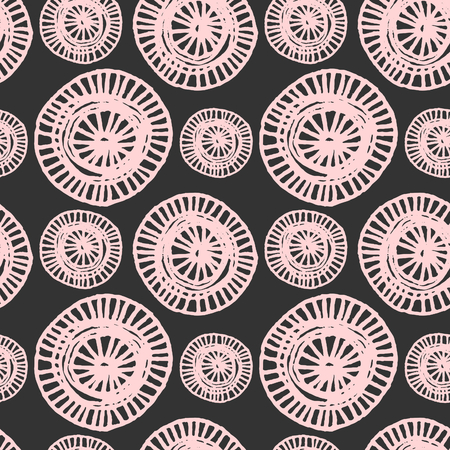 Hand drawn abstract seamless repeat pattern with ornate round shapes in black and light pink. 向量圖像