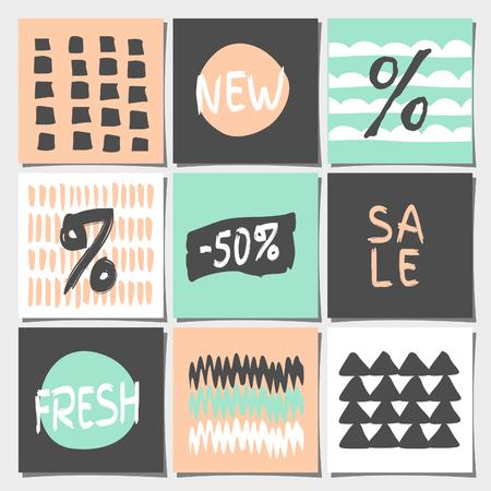 Un conjunto de nueve diseños geométricos abstractos en colores pastel. Compras, ventas, publicidad, etiquetas de precios y plantillas de etiquetas de productos. Patrones orgánicos y texturas en color rosa melocotón, menta, gris y blanco.