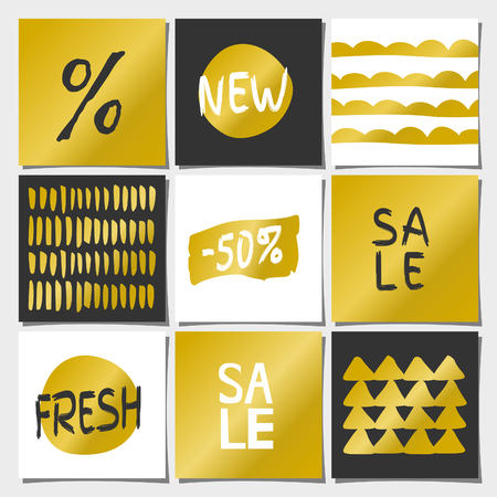 A set of nine abstract geometric designs in gold, white and black. Shopping, sales, advertising, price tags and product label templates. Organic patterns and textures, faux golden foil, typographic designs. Vector