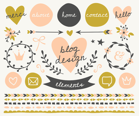 A set of trendy blog design elements in blush pink, green and dark gray. Buttons, wreaths, icons, arrows, decorative borders and text dividers.