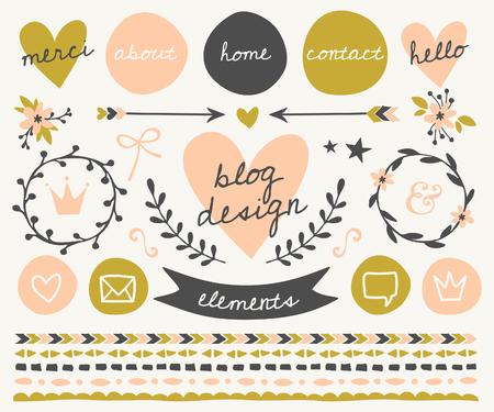Un conjunto de elementos de diseño de moda en el blog rubor rosa, verde y gris oscuro. Botones, coronas, iconos, flechas, bordes decorativos y divisores de texto. Vectores