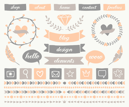 feminine: A set of trendy blog design elements in elegant pastel colors. Buttons, laurel wreaths, icons, frames, text bubbles, decorative borders and text dividers.