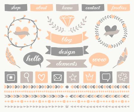 bordes decorativos: Un conjunto de elementos de diseño de moda de blogs en elegantes colores pastel. Botones, coronas de laurel, iconos, marcos, burbujas de texto, bordes decorativos y divisores de texto.