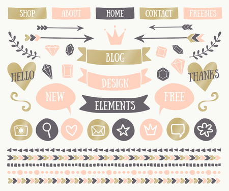 text: A set of trendy blog design elements in elegant pastel colors. Blush pink, golden and dark gray buttons, laurels, icons, arrows, text bubbles, decorative borders and text dividers. Illustration