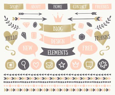 romantyczny: Zestaw modnych elementów konstrukcyjnych w eleganckich blog pastelowych kolorach. Rumienić różowy, złoty i ciemnoszare przyciski, laury, ikony strzałki, bańki tekstu, dekoracyjne obramowania oraz dzielniki tekstowych. Ilustracja