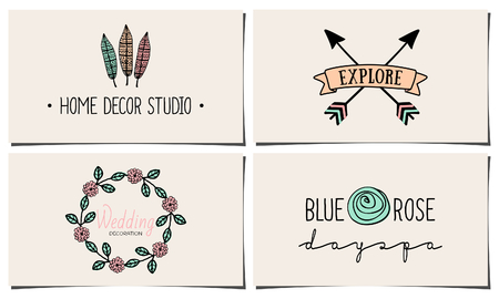A set of four stylish and elegant business card templates. Hand drawn floral design elements, feathers, leaves, arrows in pastel pink, blue and orange.