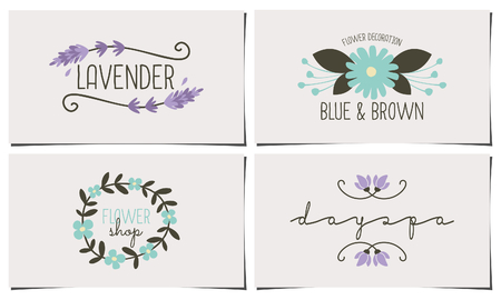 A set of four stylish and elegant business card templates. Hand drawn floral design elements in pastel blue, violet and dark brown. Fashion, florist, spa, beauty salon design identity concepts. Ilustração