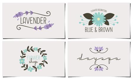 lavanda: Un conjunto de cuatro plantillas de tarjetas de visita con estilo y elegante. Dibujado a mano elementos de dise�o floral en colores pastel azul, violeta y marr�n oscuro. Conceptos de moda, florista, spa, dise�o de identidad sal�n de belleza. Vectores