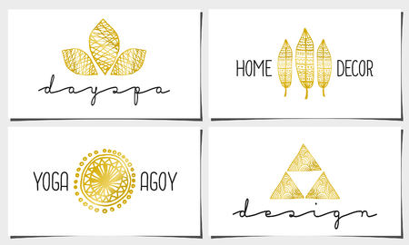 A set of four modern and elegant business card templates in white, gold and black. Hand drawn golden design elements, feathers, leaves, triangles, geometric shapes. Vector