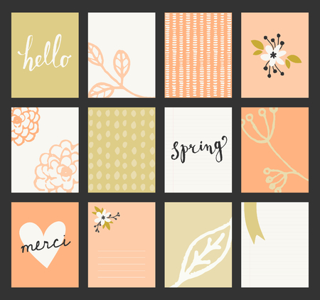 A set of 12 templates for greeting cards in pastel green, orange and white. Floral designs, hand lettering and abstract brush stroke patterns with space for text. Vector