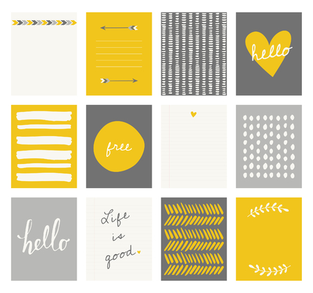 A set of 12 templates for greeting cards in yellow, gray and white. Floral designs, hand lettering and abstract brush stroke patterns with space for text. Vector