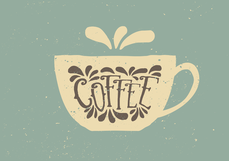coffee cup vector: Vintage style vector illustration of cup of coffee in brown, blue and off-white.