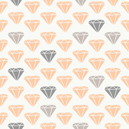 Seamless pattern with diamonds in blush pink and gray. Vector