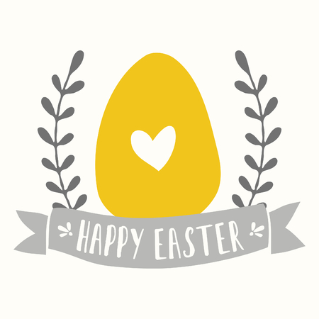 Easter greeting card template with banner, laurels and yellow easter egg. Vector