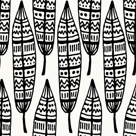 Hand drawn seamless repeat pattern with ornate feathers in black and white. Vector