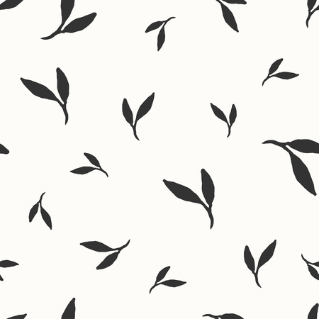 Hand drawn seamless repeat pattern with leaves in black and white. Vector