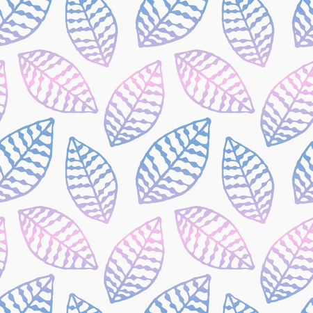 Hand drawn seamless repeat pattern with ornate leaves in blue and pink ombre on white background.