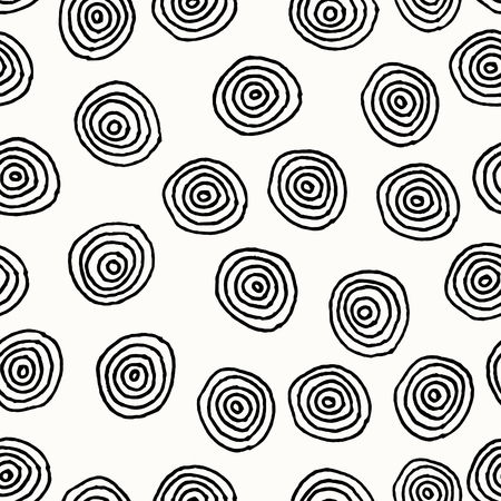 Hand drawn abstract seamless repeat pattern with round shapes in black and white. Vector