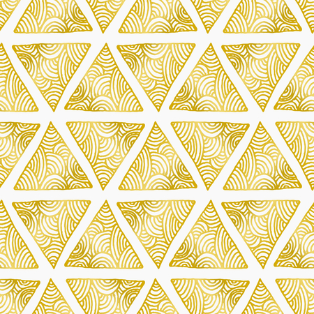 Elegant and stylish seamless repeat pattern with ornate triangles. Golden foil effect design on white background.