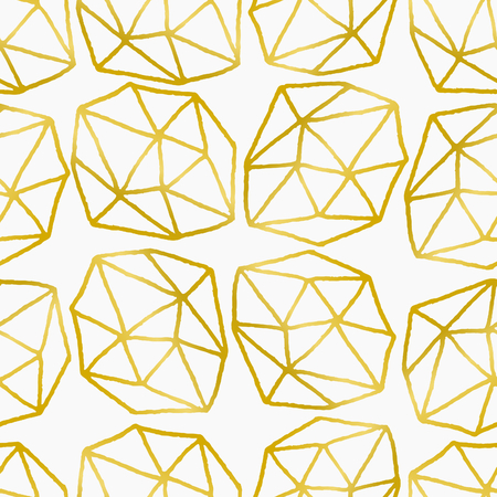 Elegant and stylish seamless repeat pattern with polygonal shapes. Golden foil effect design on white background. Vector