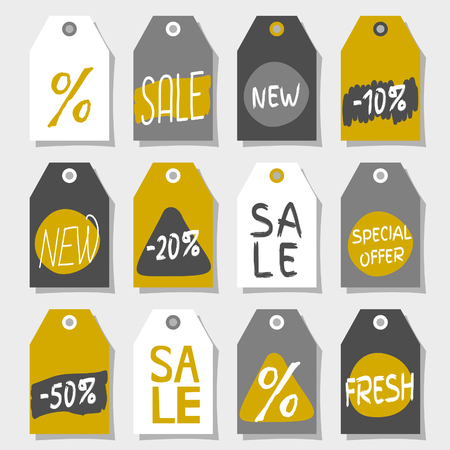 A set of twelve abstract geometric label designs. Shopping, sales, advertising, price tags and product label templates. Black, gray, white and golden color palette. Vector