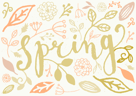 Hand drawn style spring greeting card template with handlettered text and floral decoration. Vector