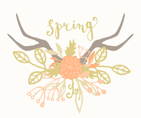 Hand drawn style spring greeting card template with hand lettered text and antlers with floral decoration. Vector