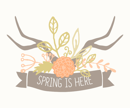 Hand drawn style spring greeting card template with antlers with floral decoration and a banner. Vector