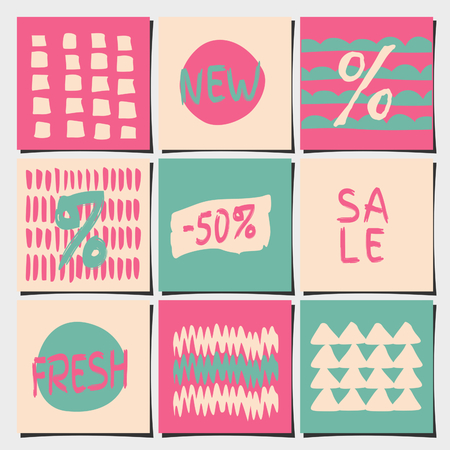 A set of nine abstract geometric designs in pastel pink and blue colors. Shopping, sales, advertising, price tags and product label templates. Vector