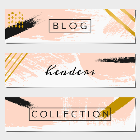 A set of three hand drawn brush strokes header designs. Pastel pink, black and golden color palette. Modern and elegant blog design elements.