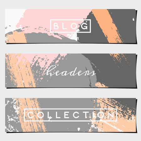 art blog: A set of three hand drawn brush strokes header designs. Pastel pink and orange, light and dark gray color palette. Modern and elegant blog design elements. Illustration