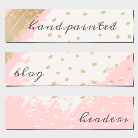 art blog: A set of three hand drawn brush strokes header designs. Pastel pink, off-white and golden color palette. Modern and elegant blog design elements. Illustration