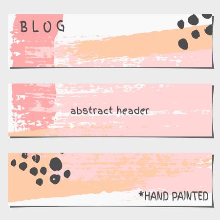 A set of three hand drawn brush strokes header designs. Pastel pink, black and orange color palette. Modern and elegant blog design elements.