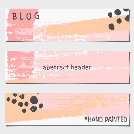 art blog: A set of three hand drawn brush strokes header designs. Pastel pink, black and orange color palette. Modern and elegant blog design elements.