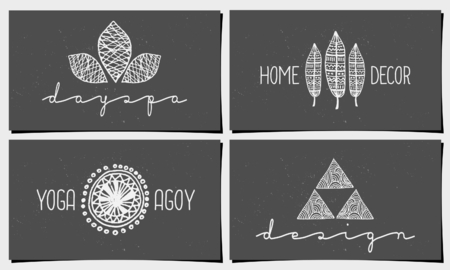 A set of four modern and elegant business card templates in chalkboard style. Hand drawn design elements, feathers, leaves, triangle, geometric shapes. Vector