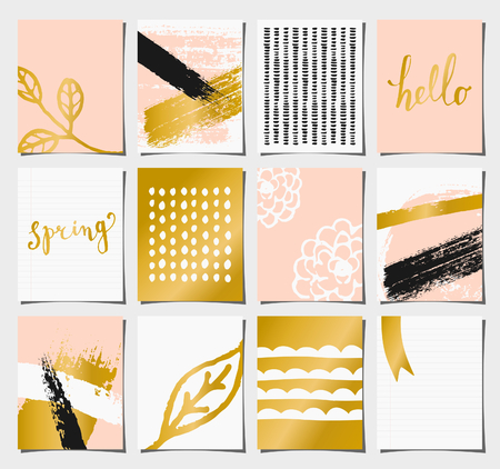 A set of 12 templates for greetingjournaling cards in pastel pink, golden, black and white. Floral designs, hand lettering and abstract brush stroke patterns with space for text. Illustration