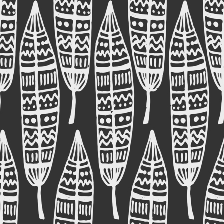 Hand drawn seamless repeat pattern with ornate feathers in chalkboard style. Vector